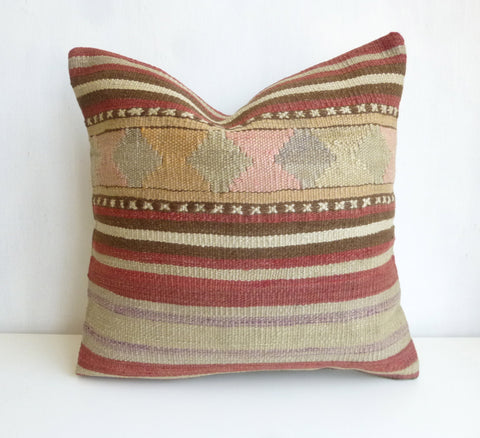 Kilim Pillow Cover with Stripes - Sophie's Bazaar - 1