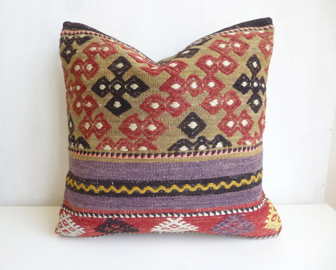 Embroidered Kilim Pillow Cover with Ethnic Design and Stripes - Sophie's Bazaar - 1