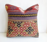 Embroidered Kilim Pillow Cover with Ethnic Design and Stripes - Sophie's Bazaar - 2