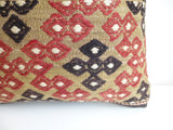 Embroidered Kilim Pillow Cover with Ethnic Design and Stripes - Sophie's Bazaar - 3
