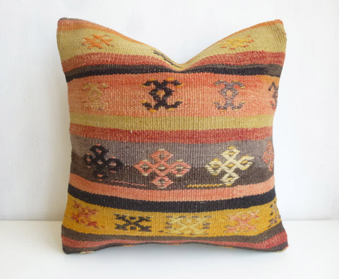 Kilim Pillow Cover with Ethnic Design and Stripes - Sophie's Bazaar - 1
