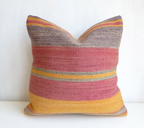 Kilim Pillow Cover with Colorful Stripes - Sophie's Bazaar - 1