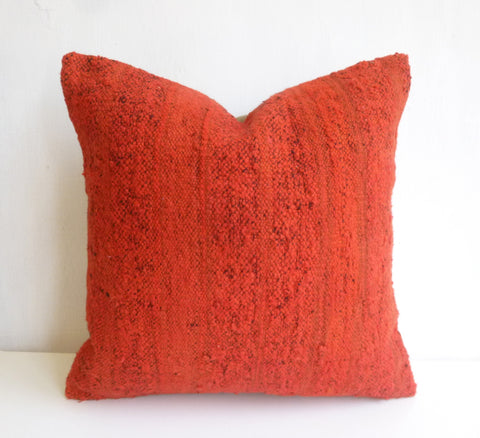 Bright Orange Recolored Kilim Pillow Cover - Sophie's Bazaar - 1