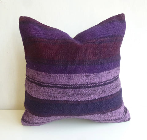 Overdyed Purple Kilim Pillow Cover with Lavender and Burgundy Stripes - Sophie's Bazaar - 2