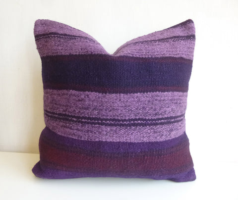 Recolored Purple Kilim Pillow Cover with Lavender and Burgundy Stripes - Sophie's Bazaar - 1
