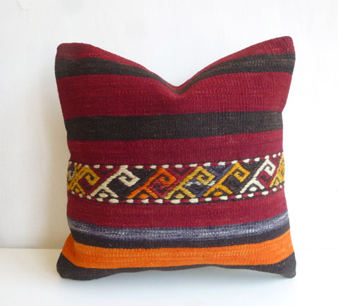 Burgundy Kilim Pillow Cover with Stripes - Sophie's Bazaar - 1