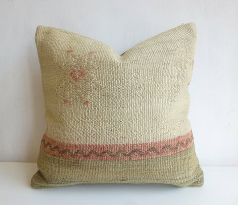 Cream and Pink Kilim Pillow Cover - Sophie's Bazaar - 1