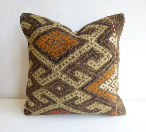 Brown Kilim Pillow Cover with colorful Embroideries - Sophie's Bazaar - 1