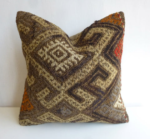 Hand Woven Kilim Pillow Cover with ethnic Embroideries - Sophie's Bazaar - 1
