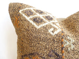 Brown Kilim Pillow Cover with Colorful Embroideries - Sophie's Bazaar - 2