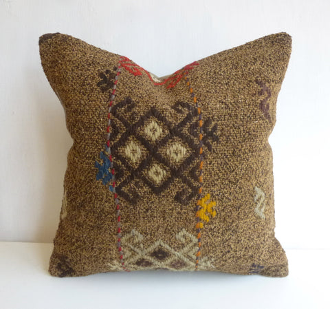 Brown Kilim Pillow Cover with Colorful Ethnic Embroideries - Sophie's Bazaar - 1
