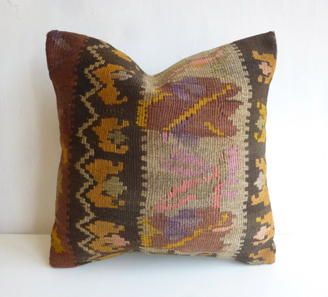 Brown Kilim Pillow Cover with Colorful Ethnic pattern - Sophie's Bazaar - 1