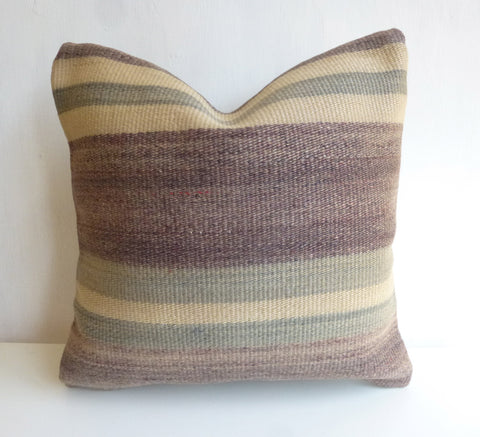Grape Kilim Pillow Cover with Stripes - Sophie's Bazaar - 1