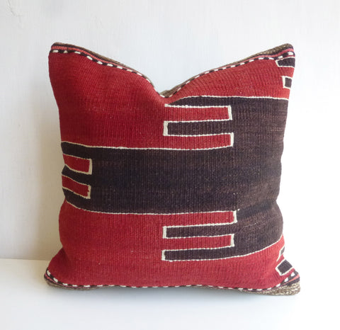 Red and dark Brown Kilim Pillow Cover - Sophie's Bazaar - 1