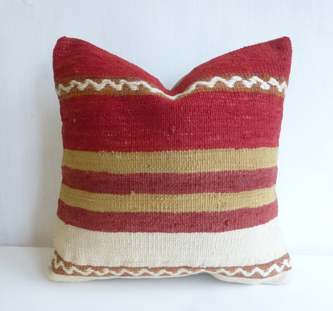 Terracotta and cream Kilim Pillow Cover - Sophie's Bazaar - 1