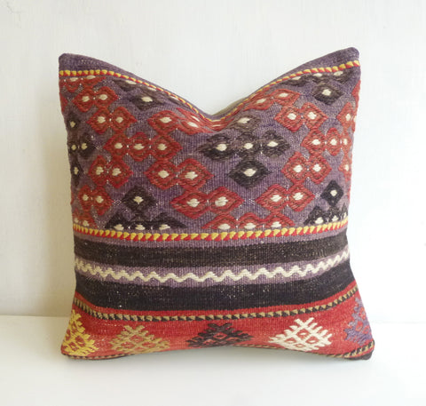 Purple and Terracotta Ethnic Kilim Pillow Cover - Sophie's Bazaar - 1