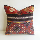 Purple and Terracotta Ethnic Kilim Pillow Cover - Sophie's Bazaar - 2