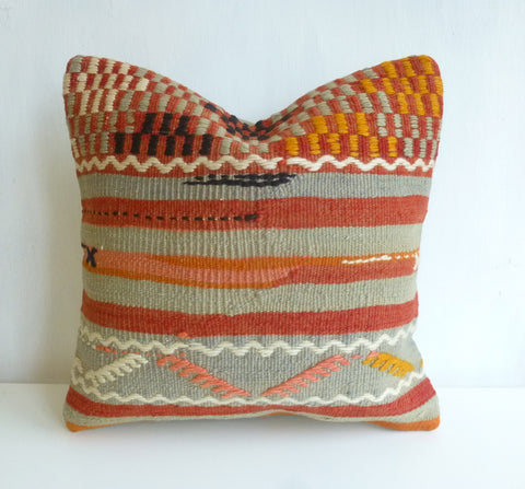 Mint and Terracotta Ethnic Kilim Pillow Cover - Sophie's Bazaar - 1
