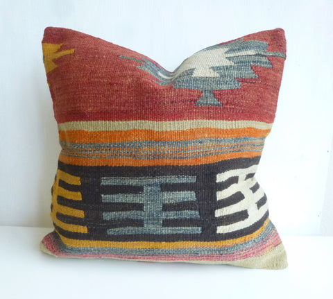 Beautiful Terracotta Tribal Kilim Pillow Cover - Sophie's Bazaar - 1