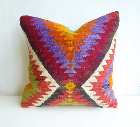Amazing Colorful Tribal Kilim Pillow Cover - Sophie's Bazaar - 1