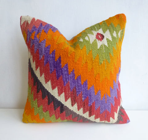 Bright Kilim Pillow Cover with ZigZag design - Sophie's Bazaar - 1