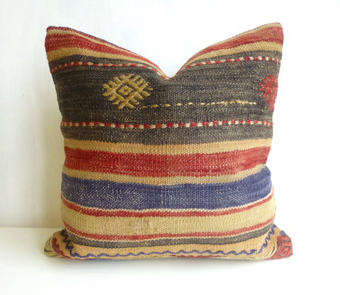 Striped Bohemian Kilim Pillow Cover with Earth Tones - Sophie's Bazaar - 1