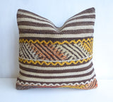 Kilim Pillow Cover with Brown and Cream Stripes - Sophie's Bazaar - 1