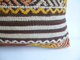 Kilim Pillow Cover with Brown and Cream Stripes - Sophie's Bazaar - 2