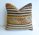 Kilim Pillow Cover with Brown and Cream Stripes - Sophie's Bazaar - 3