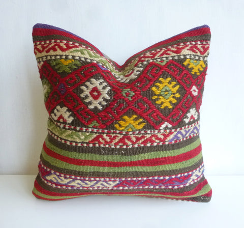 Beautiful Embroidered Kilim Pillow Cover - Sophie's Bazaar - 1