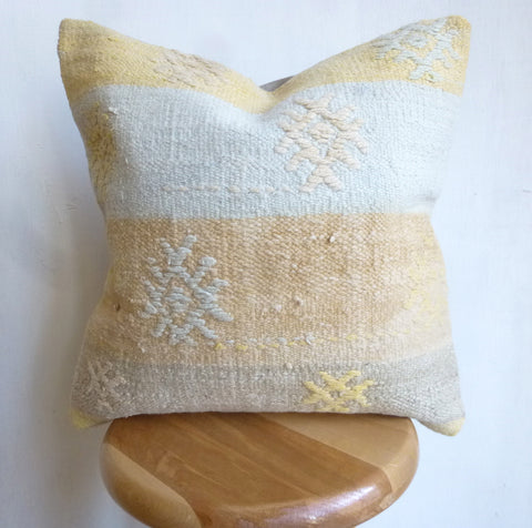 Yellow and Baby Blue Kilim Pillow Cover - Sophie's Bazaar - 1