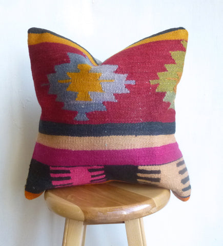 Colorful Tribal Kilim Pillow Cover hand woven in Turkey - Sophie's Bazaar - 1
