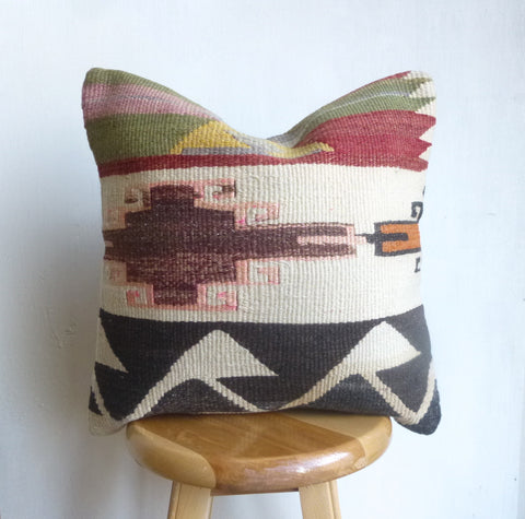 Amazingly Pretty Tribal Kilim Pillow Cover hand woven in Turkey - Sophie's Bazaar - 1