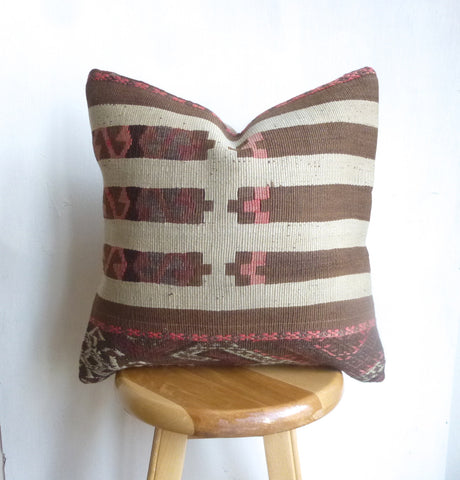 Pretty Brown and Dusty Pink Kilim Pillow Cover hand woven in Turkey - Sophie's Bazaar - 1