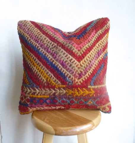 Colorful Embroidered Kilim Pillow Cover hand woven in Turkey - Sophie's Bazaar - 1