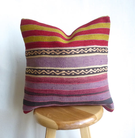 Colorful Turkish Striped Kilim Pillow Cover - Sophie's Bazaar - 1