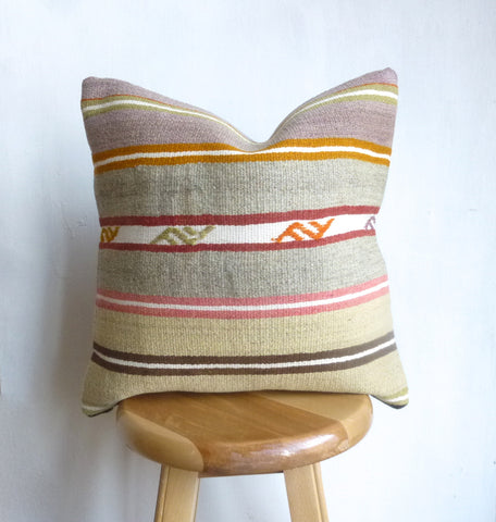 Pastel Turkish Kilim Pillow Cover with Stripes - Sophie's Bazaar - 1