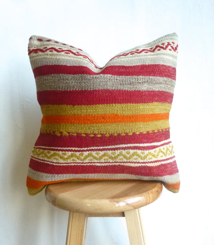 Colorful Striped Kilim Pillow Cover - Sophie's Bazaar - 1