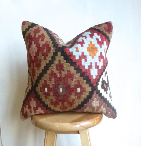 Anatolian Kilim Pillow Cover with Earth Tone colors - Sophie's Bazaar - 1