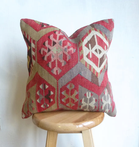 Red and Gray Anatolian Kilim Pillow Cover - Sophie's Bazaar - 1