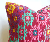 Very Colorful Kilim Pillow Cover with hand Embroidered Ethnic Pattern - Sophie's Bazaar - 3