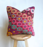 Very Colorful Kilim Pillow Cover with hand Embroidered Ethnic Pattern - Sophie's Bazaar - 1