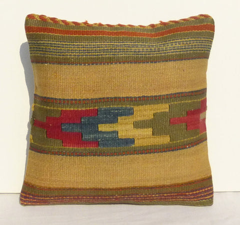 Yellow & Khaki Kilim Pillow cover - Sophie's Bazaar - 1