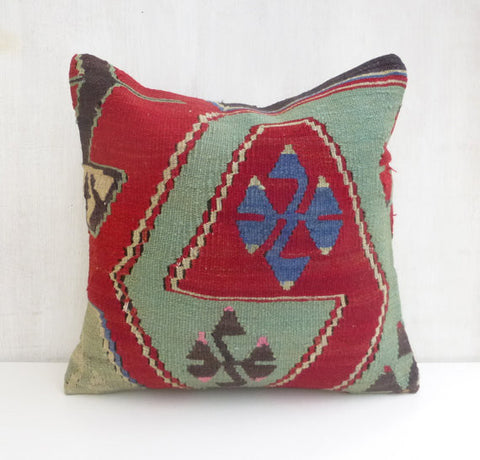 Mint & Red Kilim Throw Pillow - Sophie's Bazaar - 1