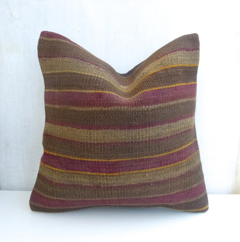 Brown Kilim Pillow cover with Stripes 45x45 cm - Sophie's Bazaar - 1