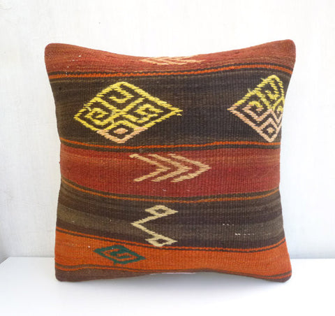 Bohemian Kilim Throw Pillow with earth tone Stripes - Sophie's Bazaar - 1