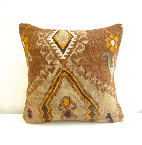 Ethnic Kilim Throw Pillow with Earth tones - Sophie's Bazaar - 1