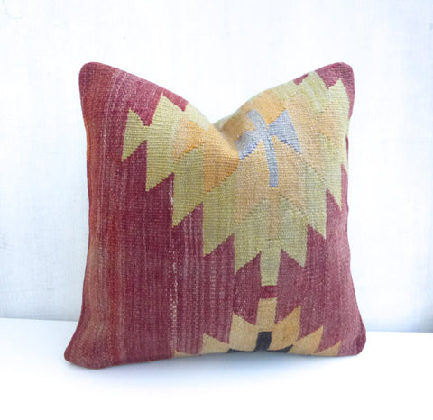 Burgundy Kilim Pillow Cover with Medallion - Sophie's Bazaar - 1