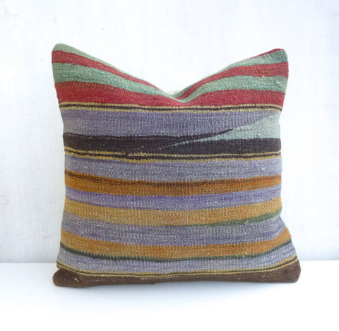 Kilim Throw Pillow with Stripes - Sophie's Bazaar - 1