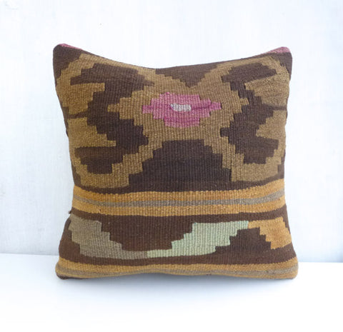 Brown Ethnic Kilim Pillow Cover - Sophie's Bazaar - 1